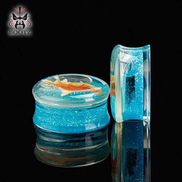 Прозрачный акриловый логотип рыбы синий цвет беруши и туннели