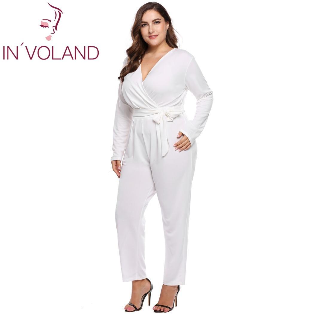59deba9d77944 IN'VOLAND Plus Size XL-5XL Women Jumpsuit 2018 Spring Autumn Cross V-Neck  Belt Long Sleeve Solid Large Loose Romper Big Size