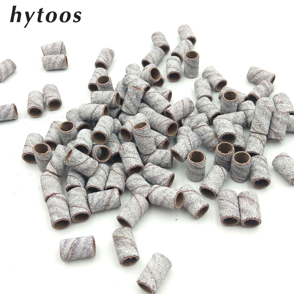 HYTOOS 100Pcs/set White Nail Art Sanding Bands Pedicure Tools Electric Drill Accessories Foot Care Polishing Tools 80# 150# 240#