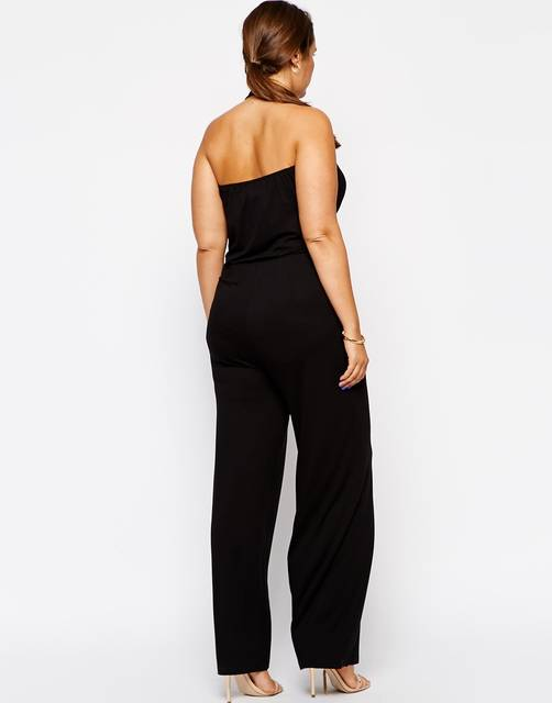 04e7ca1708d12 Plus Size Women Jumpsuits 6XL Sleeveless Women Rompers Black Halter  Jumpsuit Large Big Size Lady Summer