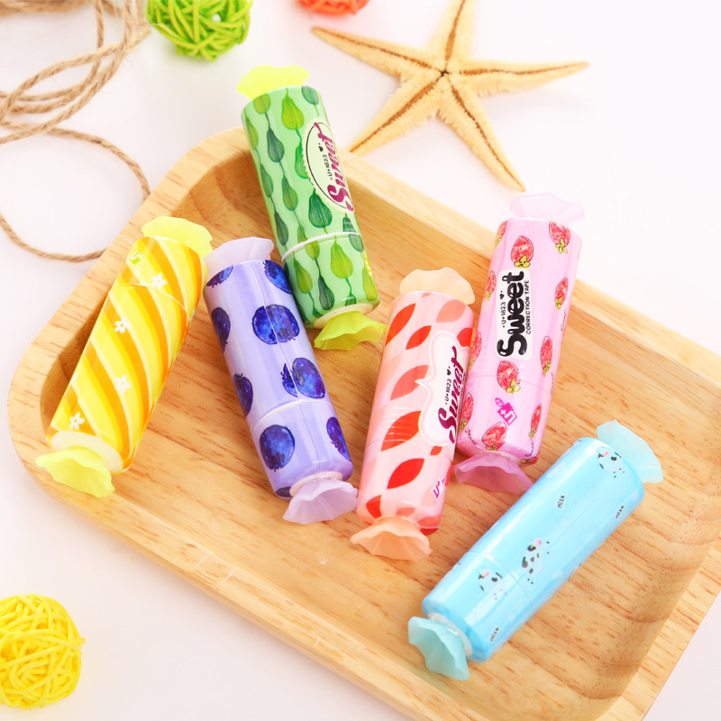 Creative candy shape student correction tape kawaii Fruit Plastic material escolar korean stationery school supply papelaria in Correction Tapes from Office School Supplies
