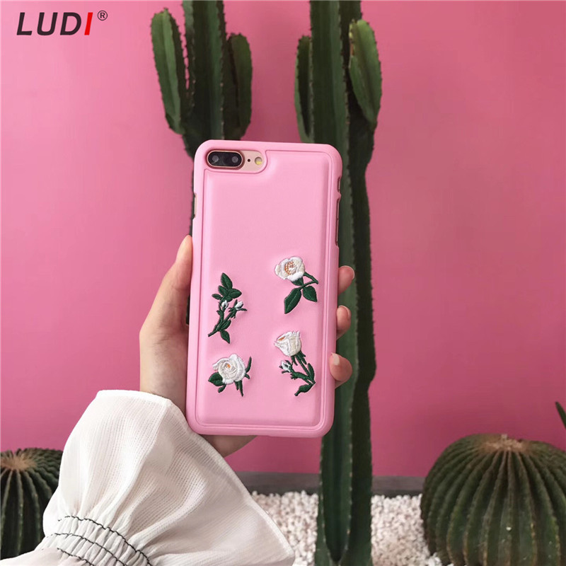 LUDI Hot Ins Korean Embroidery Flowers Leaves & Peach Case for iPhone 8 7 7Plus PU Hipster Hard Fundas for iphone 6 6s 6/6sPlus