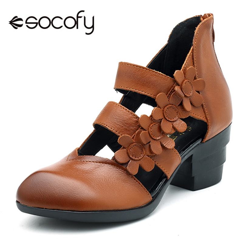 cbd9df97c550 Socofy Hollow Out Genuine Leather Sandals Women Shoes Vintage Block High Heels  Gladiator Sandals Summer Casual Shoes Woman New-in High Heels from Shoes on  ...