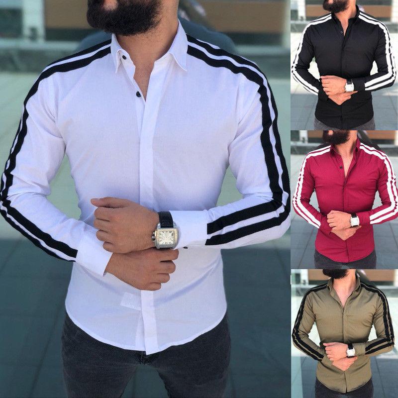 US New Men Fashion Luxury Shirts Casual Male Slim Shirts Stylish Slim Fit Long Sleeve Striped Dress Shirts Mens Tops Clothes