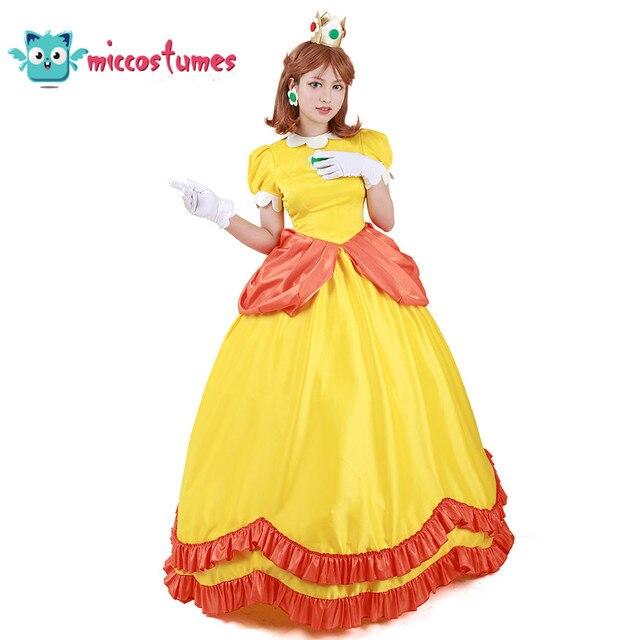 Vestido longo amarelo da princesa daisy, fantasia, mulher, vestido longo