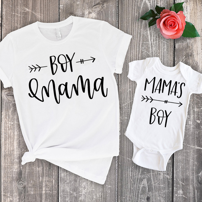 2020 Mom And Son Matching Clothes Family Look Summer Shirts Mama Little Boy Baby Bodysuit Rompers + Mommy Tshirt Set