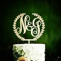 1 sztuk Niestandardowe Wedding Cake Topper Monogram Początkowa Drewnianą Rustykalne Ciasto Topper Topper Tort Weselny Dekoracje