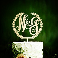 1pcs Custom Monogram Wedding Cake Topper Initial Wooden Topper Rustic Cake Topper Wedding Cake Decorations
