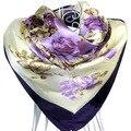 90 cm * 90 cm El Envío Libre 2015 Nuevas Mujeres de la Llegada Impresión de la Flor Púrpura pintura al óleo de seda cuadrados bufanda de las mujeres royal rose chales