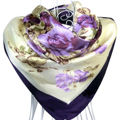 90cm*90cm Free Shipping 2015 New Arrival Women Purple Flower Print oil painting square silk scarf women royal rose shawls(China (Mainland))