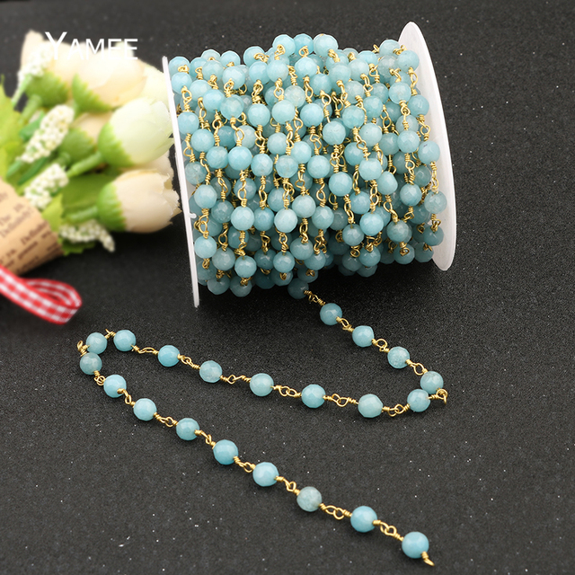 5 Meter Meer Blau Optimiert Aquamarine Facettierte Perlen Kette ...