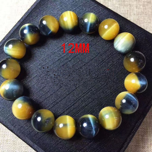 Top Quality Natural Gold Blue Tiger Eye Yellow Gemstone Round Beads Bracelet 12mm For Women Men Crystal Gemstone Jewelry AAAAA in Bracelets Bangles from Jewelry Accessories