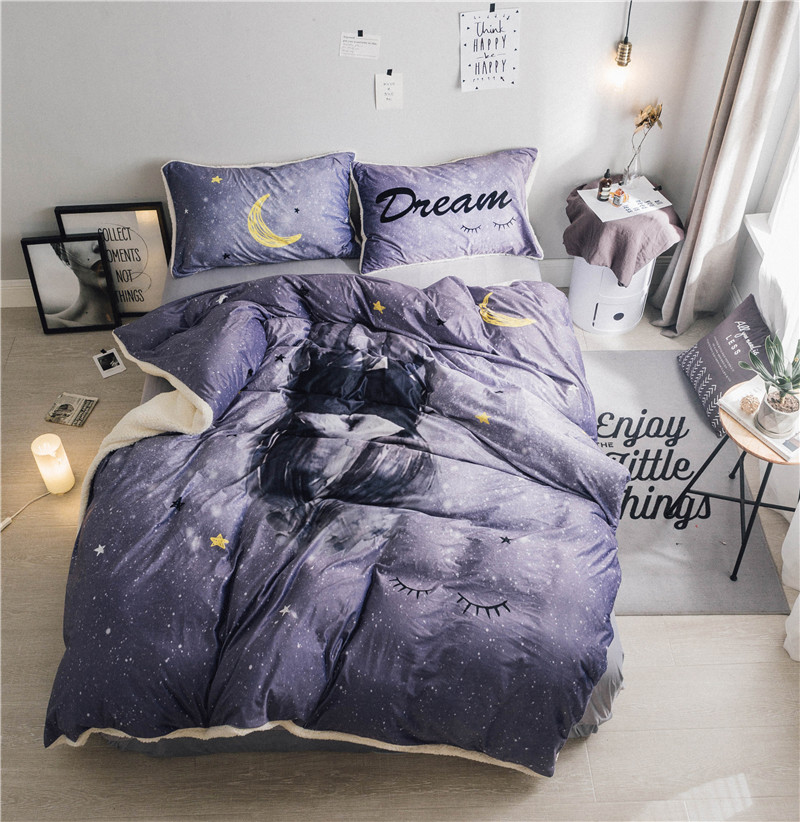 Luxury Soft Cashmere bedding set gray duvet cover sets warm winter bed linen bedclothes double bedLuxury Soft Cashmere bedding set gray duvet cover sets warm winter bed linen bedclothes double bed
