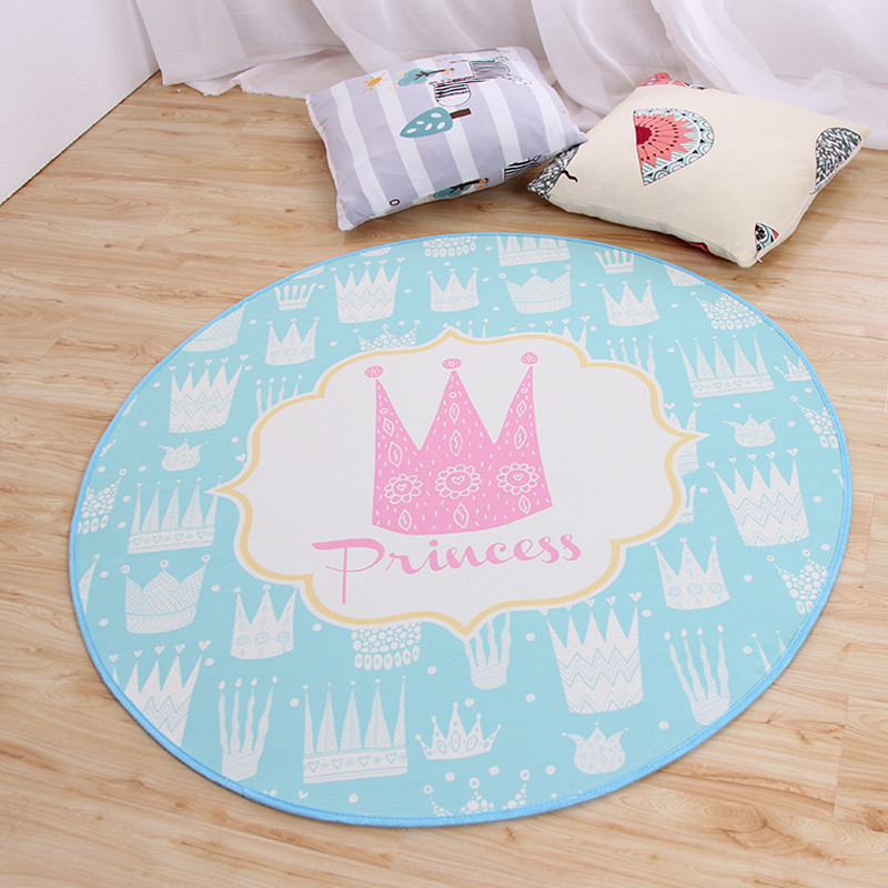 Us 12 77 40 Off Princess Crown Area Rugs And Carpets For Kids Baby Home Living Room Round Decorative Yoga Cushion Bathroom Bedroom Door Bath Mat In