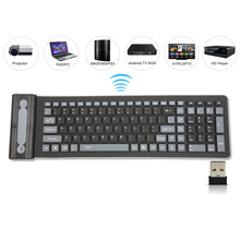 2.4G Wireless Keyboard Folding 107 Keys Soft Silicone Rubber Waterproof Flexible Foldable Keyboard For Laptops PC Projector