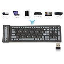 2.4G Wireless Keyboard Folding 107 Keys Soft Silicone Rubber Waterproof Flexible Foldable Keyboard For Laptops PC Projector