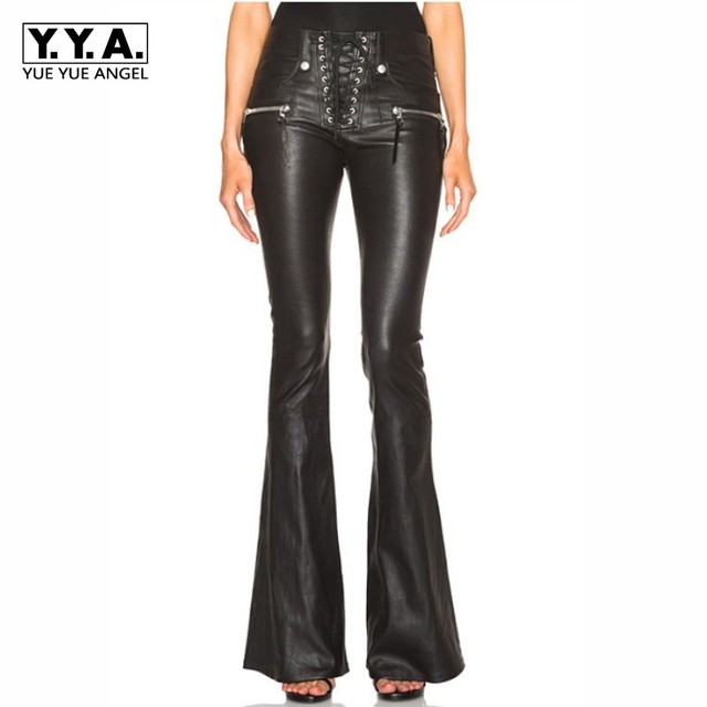 Cool Punk Fashion Womens Lace Up Slim Fit Trousers Female Flared  Bell-bottom PU Leather e9a03e1d3