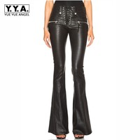 Cool Punk Fashion Womens Lace Up Slim Fit Trousers Female Flared Bell bottom PU Leather Pants Size XS XL Free Shipping