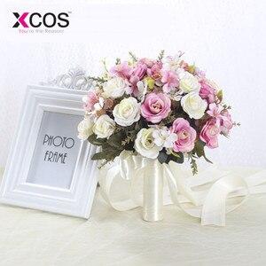 Image 5 - XCOS חדש סגול לבן חתונה זר בעבודת יד מלאכותי פרח רוז buque casamento כלה זר לחתונה קישוט