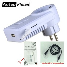 Russian English SMS Control GSM Power Plug Socket With Extension Cable/Temperature Sensor Smart Switch Outlet support Sim Card