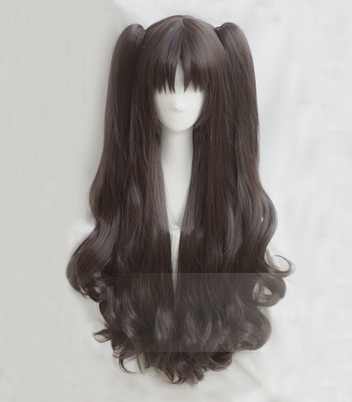 Game Fate/Stay Night Rin Tohsaka 80cm Long Curly Brown Ponytail Heat Resistant Hair Cosplay Costume Wig + Track + Wig Cap