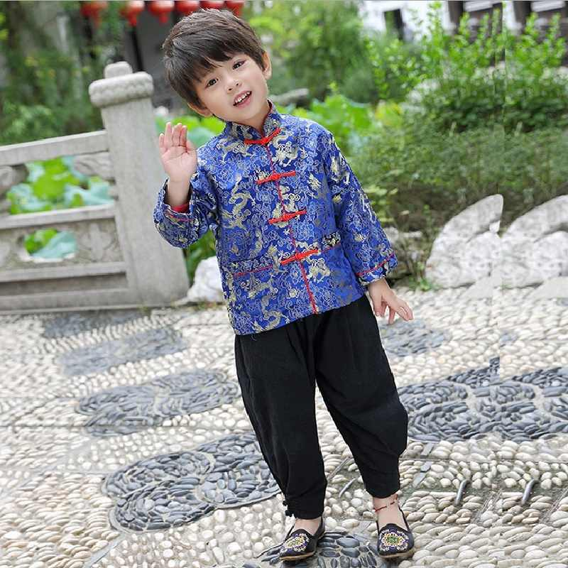 c99938a17c 2019 Chinese New Year Festival Children Jacket Boys Tang Clothes Costumes  Baby Boy Coat Red Navy Dragon Outfits Yellow Outerwear