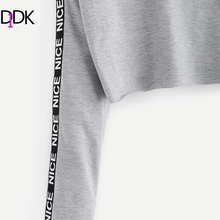 DIDK Printed Tape Detail Pullover Slit Skirt Set Women Grey Round Neck Long Sleeve Casual  2017 Autumn Women Clothes Sets