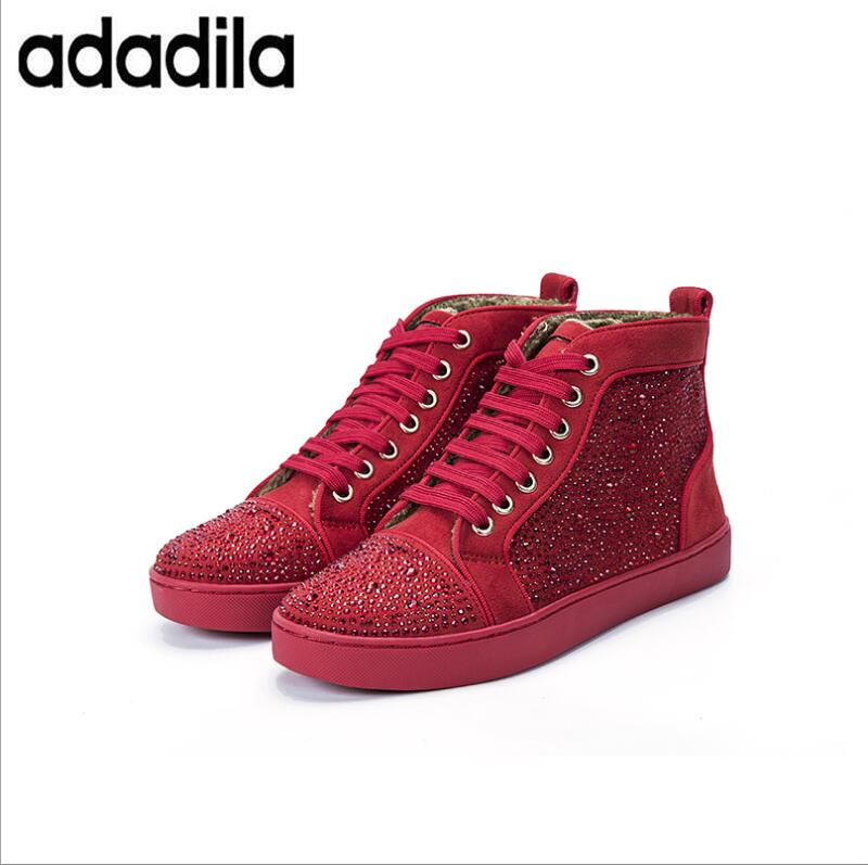 Lacets Respirant Chaussures Mi Sneakers Appartements Casual Homme Black Hommes Glitter À Mode Paillettes red PXiOuwkZT