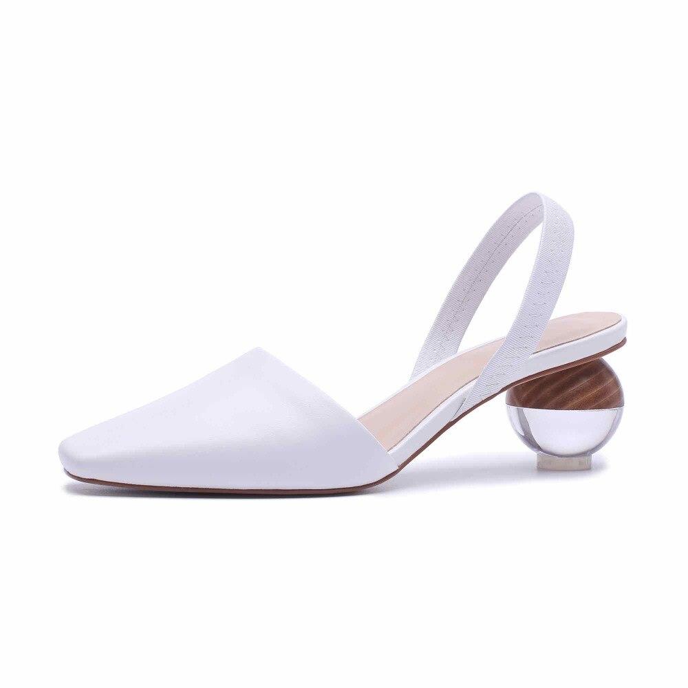 Krazing Pentola in vera pelle elastica fascia stile strano tacchi 5.5 cm superstar streetwear slingback sandali di disegno originale L11-in Tacchi alti da Scarpe su  Gruppo 2