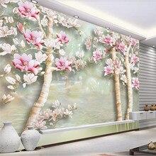 лучшая цена Custom wallpaper super clear jade orchid jade carving background wall painting waterproof material