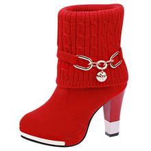LAIDILANGTU 2018 winter new thick with women's boots high-heeled shoes boots casual fashion warm female Riding, Equestrian boots недорого