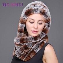 Piel auténtica sombrero Beanie Rex conejo largo Bufandas doble uso invierno  russisn genuino natural Pieles de d1eec525682