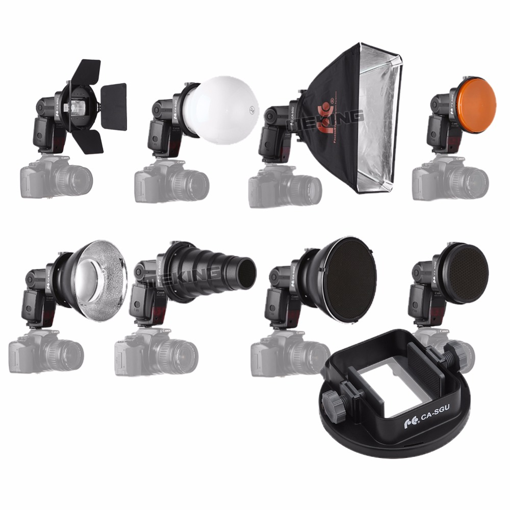 9PCS K9 Flash Speedlite აქსესუარების ნაკრები Conical Snoot + Reflector + Diffuser + Honey Comb + Softbox + gels + Barndoor + Mount