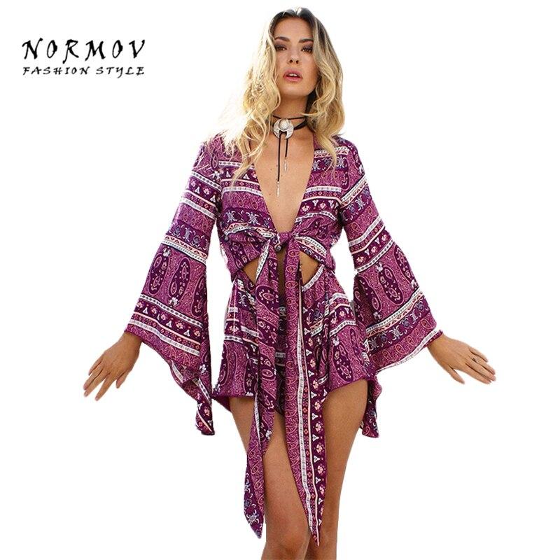 NORMOV Sexy V-neck Hollow Jumpsuit Ethnic Style Shorts Boho Print Bodysuit Macacao Feminino Sexy Beach Jumpsuit