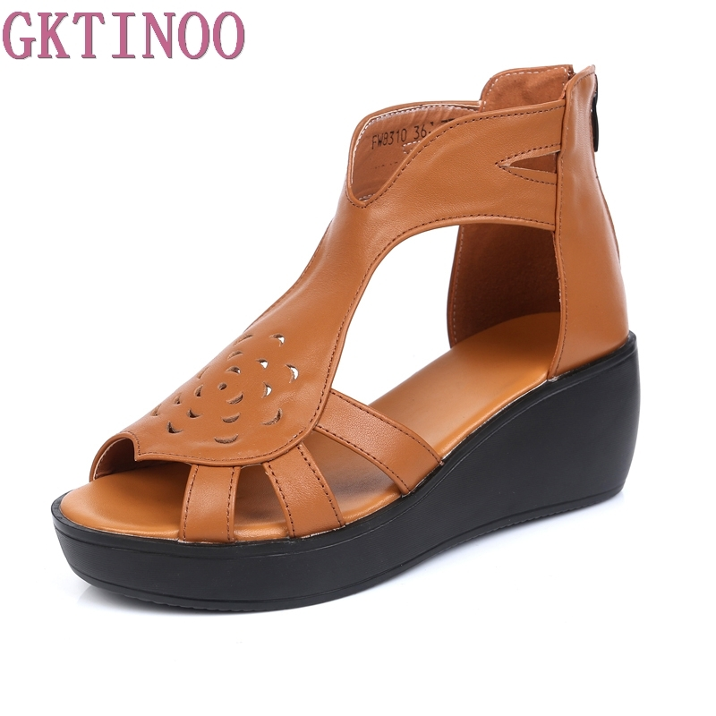 GKTINOO Woman Sandals 2019 Summer Women Genuine Leather Platform Open Toe Casual Shoes Woman Fashion Thick Bottom Wedges Sandals-in Middle Heels from Shoes    1