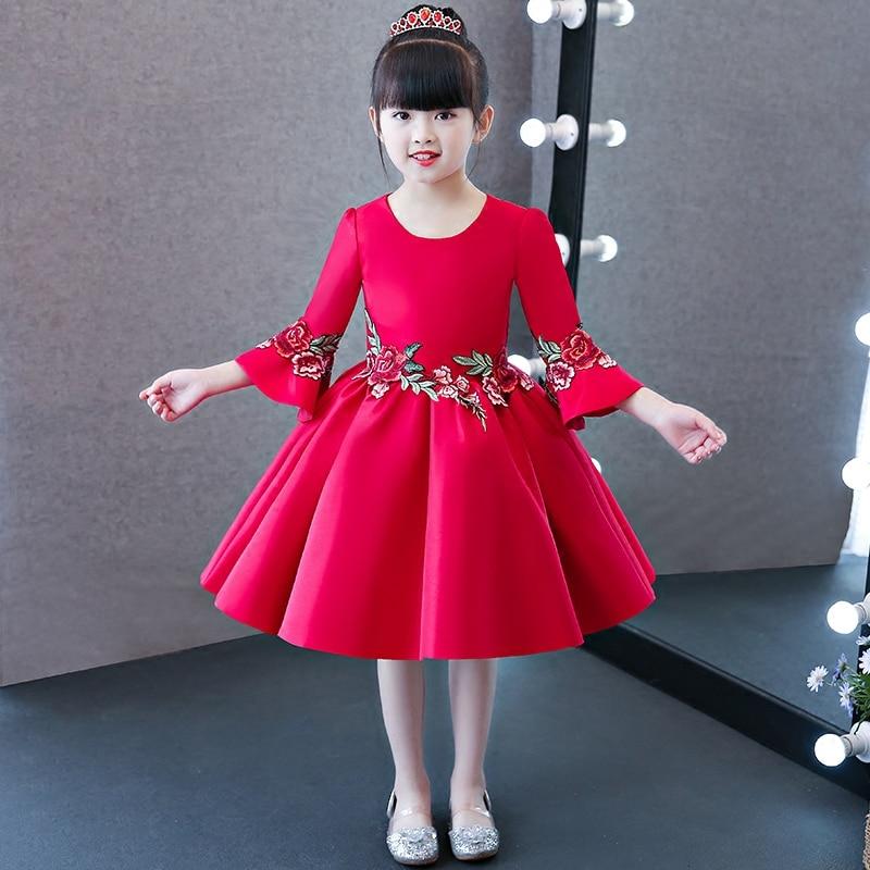 2017 New Children Kids Chinese Red Color Qipao Cheongsam Princess Dress Girls New Year Birthday Wedding Christmas Flowers Dress