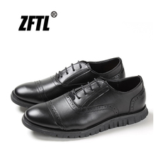 ZFTL New Men dress shoes male formal shoes British leather round head wedding Brock carved business casual shoes big size   084 brock engraved business casual leather shoes men oxfords dress wedding shoes male british breathable pointed shoes hjm89