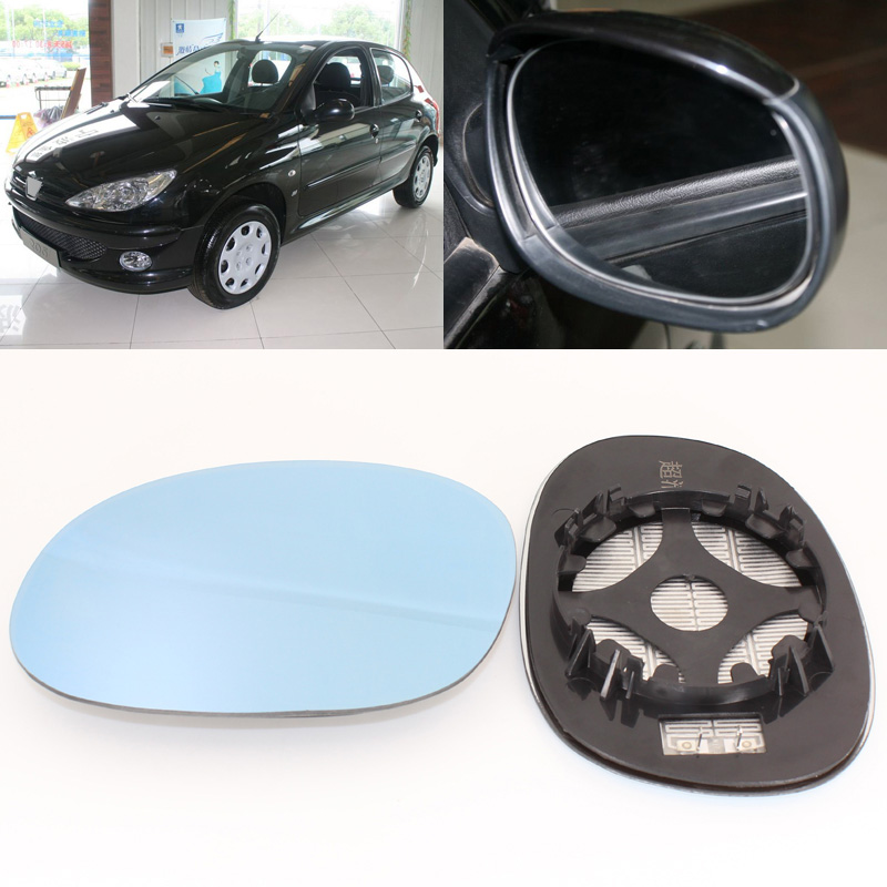 For <font><b>Peugeot</b></font> <font><b>206</b></font> 2005-2008 Side View Door <font><b>Mirror</b></font> Blue Glass With Base Heated 1 Pair image