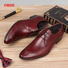 цены OMDE Mens Dress Shoes New Arrival British Style Pointed Toe Formal Shoes Men Leather Shoes Fashion Lace-up Office Shoes For Men