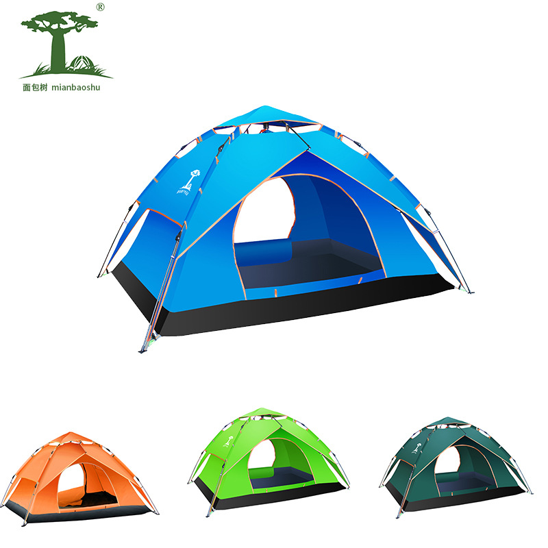 Travel camping double layer automatic tent outdoor net canopy bed curtains Insecticide Treated Fiber glass collapsible tent