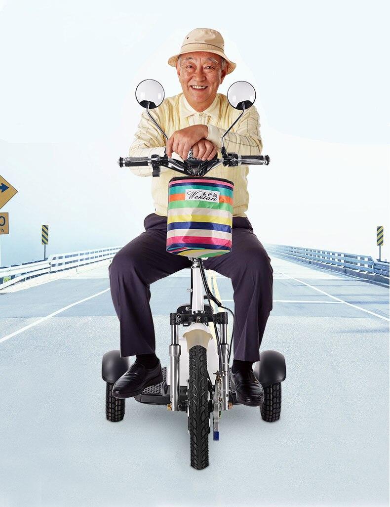 Électrique Scooter Pliable Tricycle Citycoco pour Personnes Âgées Homme Femme avec trois whheel 12 V 350 W Shiopping Gratuit