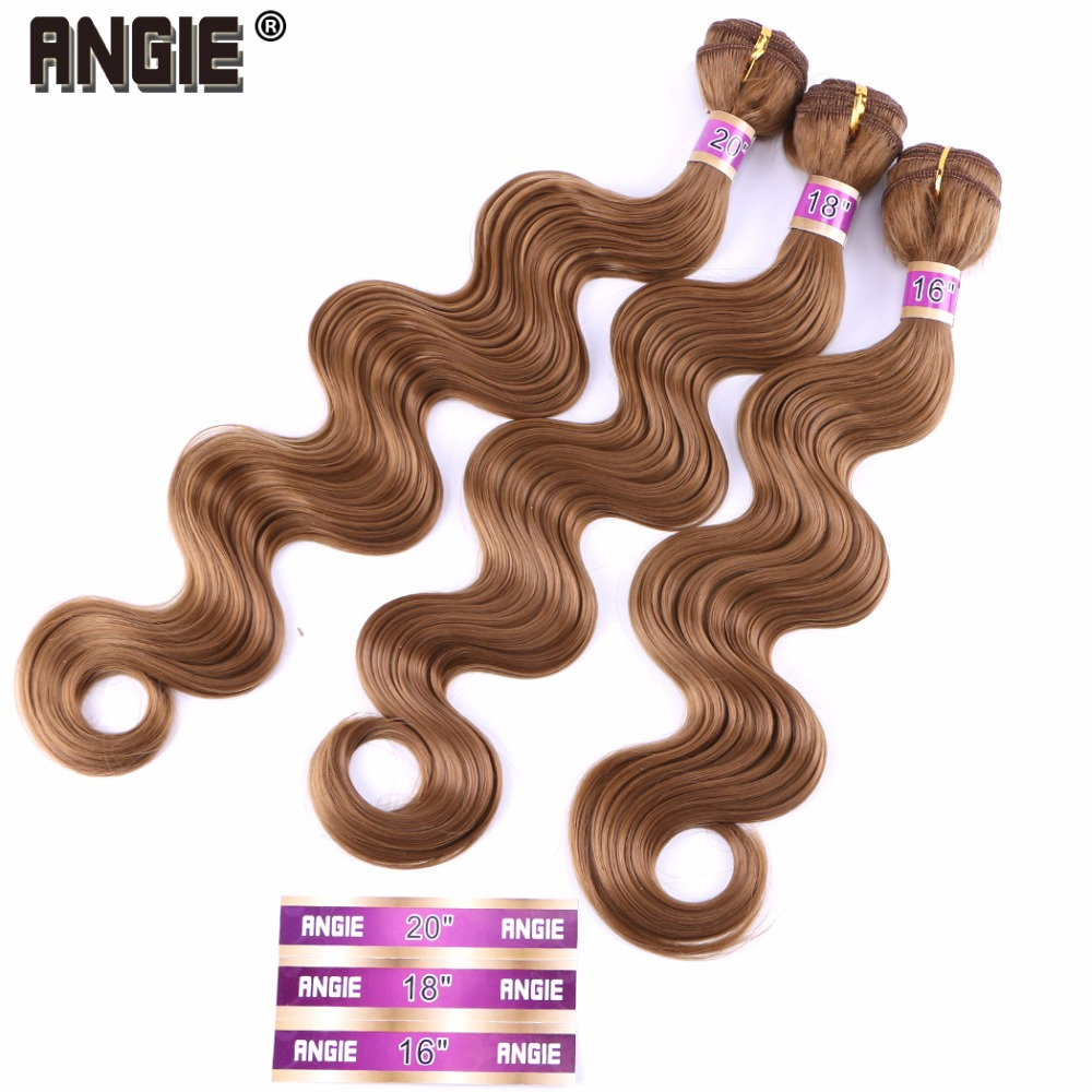 16 18 20 Inches Body Wave Synthetic Hair Weave 3 Bundles Single Color Double Weft Hair Extention
