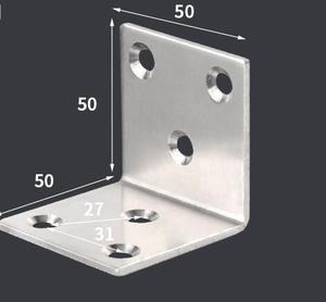 Image 1 - 50*50*50mm ze stali nierdzewnej stałe meble narożne uchwyty 90 stopni połączenia akcesoria kąt żelaza ze śrubą grubość: 2mm