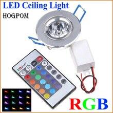 10 pçs led lâmpadas lâmpada 3 w rgb 16 cores ponto luz AC85 265V + ir controle remoto rgb led teto downlight