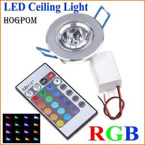 Image 1 - 10pcs LED אור נורות מנורת 3W RGB 16 צבעים ספוט אור AC85 265V + IR שלט רחוק RGB LED תקרת Downlight