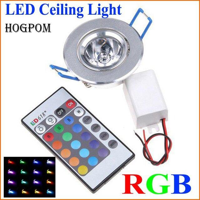 10pcs LED אור נורות מנורת 3W RGB 16 צבעים ספוט אור AC85 265V + IR שלט רחוק RGB LED תקרת Downlight