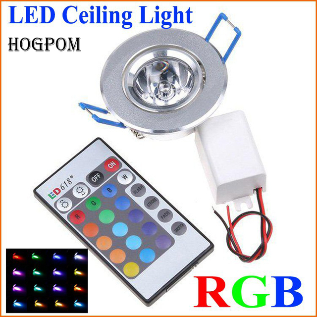10pcs LED Light Bulbs Lamp 3W RGB 16 Colors Spot Light AC85 265V + IR Remote Control RGB LED Ceiling Downlight