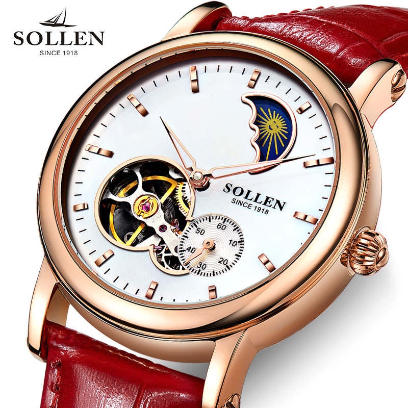 SOLLEN Tourbillon Business women watches brand luxury shockproof waterproof watch women mechanical automatic ladies wristwatch tourbillon business mens watches top brand luxury shockproof waterproof skeleton watch men mechanical automatic wristwatch