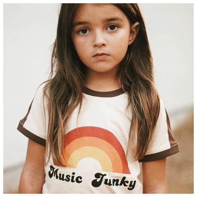 1-6T Toddler Cool Boy Girl Rainbow print T-shirt Summer Top Short Sleeve Unisex Fashion Cotton Infant Children Clothing