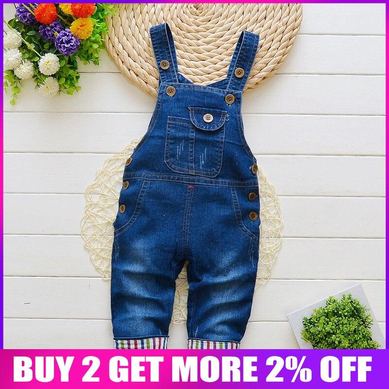 b3e4c6e8c BibiCola otoño niños pantalones de mezclilla bebé monos de mezclilla para  niños pequeños/infantes pantalones de babero ropa de niños pantalones  vaqueros ...